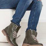 Мега крутые кожаные женские зимние ботинки Высокое качество Разные цвета