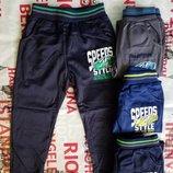 Утепленные эластиковые спортивные брюки для мальчиков, 98-128 см