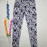 Трикотажные стрейчевые леггинсы брюки в цветочный принт H&M.