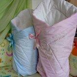 конверт на выписку одеяло детское 90х90см. легкое не аллергенное крещение весна осень зима