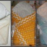конверт на выписку одеяло детское 90х90см. легкое не аллергенное крещение зима весна осень