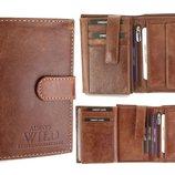 Кожаный мужской кошелек Always Wild коричневый New 2017