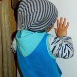 Шапка детская серая с голубым новая Brand на Ог 52-54 см.