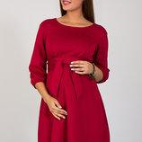 Очень женственное платье для беременных и кормящих из трикотажа джерси, карминовое