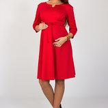 Платье для беременных и кормящих из трикотажа джерси, красное