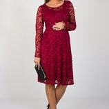 Красивое платье для беременных из гипюра, бордовое