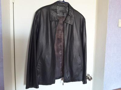 Куртка мужская кожаная, черная, 52