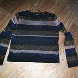 Свитер джемпер с люрексом нарядный модный крутой синий черный золотой