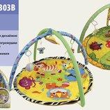 Коврик Развивающий для младенца мягкий с подвесками 898-302-303B 2 вида