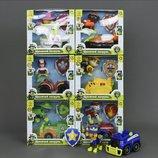Герои Щенячий Патруль с машинкой 6 видов, инерция,звук,свет, на батарейках CH701G в коробке