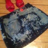 Гламурная фирменная джинсовая с вышивкой мини-юбка варенка pink angel. s 44