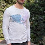 Бледно-Серый мужской свитшот De Facto с рисунком на груди