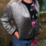 Крутезный серебряный Бомбер - ветровка, лёгкая куртка DIE & MORE OUTERWEAR Collektion Турция