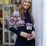 теплый вязаный длинный свитер гольф туника шапка шарф гетры женские теплые вязаные свитера джемпер
