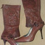 Кожаные демисезонные туфли-сапоги 39 размер