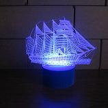 Ночник 3d светильник лампа Корабль, игрушка, подарок для мальчика, для мужчины, сувенир, интерьер