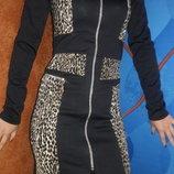 Стильное черное платье по фигуре на молнии с леопардовыми вставками, размеры s, m