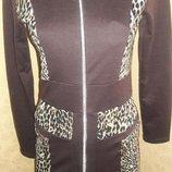 Трикотажное платье шоколадного цвета на молнии, р. S, M, L распродажа