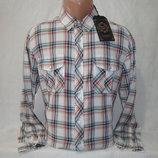 Мужская рубашка на кнопках в клетку с длинным рукавом Junker. Разные цвета.