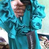 блузка Rinascimento Италия бирюзовая атласная с розами