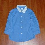 Нарядная голубая рубашка, 80, 86, 9-12 мес., 12-18 мес.,1-1,5 года Состояние новой