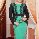 Нарядное платье-костюм с кружевом, зеленое с черным, р. 52, 54