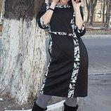 Трикотажное платье черно-белое, размеры 50, 58 маломерит