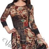 Нарядное трикотажное платье с гипюром и имитацией вышивки, р. 42,44,46 скинули цену
