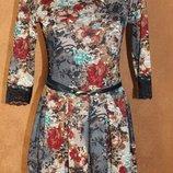 Нарядное трикотажное платье с гипюром и имитацией вышивки, р. 42,44,46