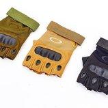 Перчатки тактические с открытыми пальцами и усиленным протектором Oakley 4624 размер M-XXL, 3 цвета