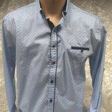 Рубашка мужская притал. GPORT св-голубая в мелкий рис. M,L,XL,2XL,3XL
