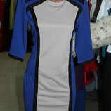 Классическое трикотажное платье синий цвет, р. 46-48