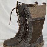 Сапоги ботинки кожа замш зима tamaris, чоботи шкіра розмір 40