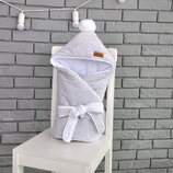 Велюровый конверт одеяло на выписку в роддом для новорожденного