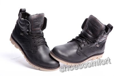 Кожаные зимние мужские ботинки Levi's Leather Jax Shoes черные