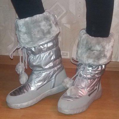 Новая мода Супер сапожки-дутики серебро Нюанс