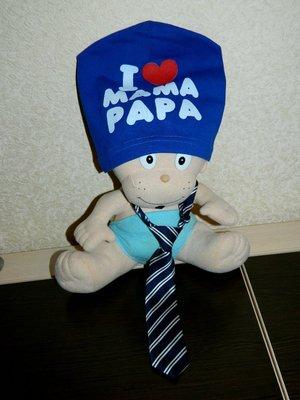 Детская синяя шапка I LOVE MAMA PAPA