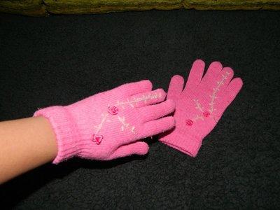 Женские вязаные розовые перчатки