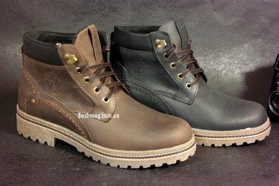 Кожаные зимние мужские ботинки на меху, толстая кожа и подошва, теплые, ноские, крепкие в наличии 2
