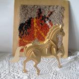 Лошадь.лошадка -конструктор и картина из пряжи.