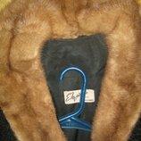 Натуральный полушубок c укороченным рукавом из каракульчи и воротник норка. s-m,44-46.