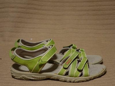 Яркие открытые спортивные босоножки цвета фуксии и салатового цвета Teva Сша 33 и 34 р.