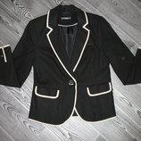 Красивый пиджак лен вискоза черный бежевая отделка