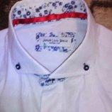 Рубашка, шведка мужская белая Jiggler lord berlue Турция 41см ворот