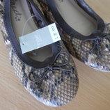 Туфли Балетки 20,5 см рр 33 новые с бирками чешуя коричневые Next Некст