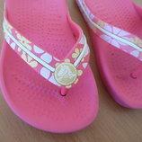 Кроксы 16 см стелька оригинал резиновые шлепки рр 8-9 цветы Crocs Крокс розовые фирменные