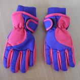 Перчатки детские теплые лыжные фиолетовые новые без бирки