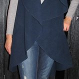 Трендовое длинное пальто без рукавов, жилет, накидка Luigi moda Italy