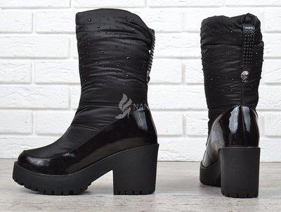 Сапоги женские дутики зимние черные на каблуке Prima d Arte в камнях ... 5a32a24d93e