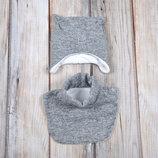 Зимний детский набор зимняя шапка на флисе манишка